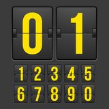 Countdown timer, white color mechanical scoreboard. With different numbers stock illustration