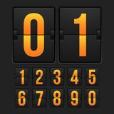 Countdown timer, white color mechanical scoreboard. With different numbers vector illustration