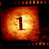 Countdown. To the beginning of the movies (on a film strip Royalty Free Stock Photography