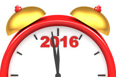 Countdown to 2016 clock. Three dimensional render of 2016 text and a clock Royalty Free Illustration