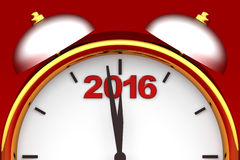 Countdown to 2016 clock. Three dimensional render of 2016 text and a clock Stock Images