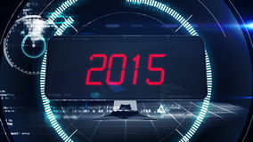 Countdown to 2015 on computer screen in tech style stock video