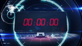 Countdown to 0 on computer screen in tech style stock footage
