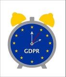 Countdown to General Data Protection Regulation GDPR - Alarm Clock Illustration. Illustration of alarm clock using EU flag isolated on white background vector illustration