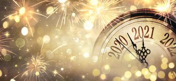 Free Countdown To Midnight - Happy New Year 2021 - Abstract Defocused Background Royalty Free Stock Images - 202691599