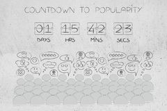 Countdown to popularity timer and crowd with positive reactions Stock Images