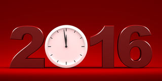 Countdown to 2016 text. Three dimensional render of 2016 text and a clock Royalty Free Stock Photography