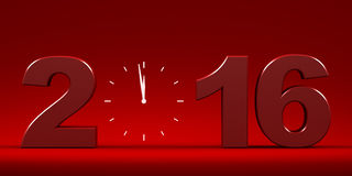 Countdown to 2016 text. Three dimensional render of 2016 text and a clock Stock Photos