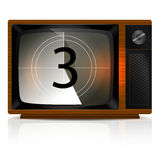 Countdown 3 on TV Royalty Free Stock Photos