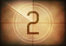 Countdown Two. Countdown on the old movie screen. High resolution image with detailed quality Royalty Free Stock Photos