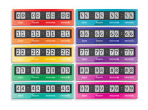 Countdown vector isolated timers icons set Royalty Free Stock Photos