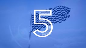 Countdown Video. Animated Countdown against racing flag background stock footage
