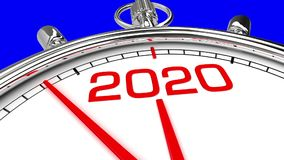 New year 2020 clock blue screen. Countdown from year 2019 to 2020. perfect for your own background, clean mask on blue screen stock illustration