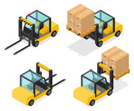 Counter-balanced Forklift truck with boxes. In flat isometric style. Cargo handling equipment with goods. Warehouse icons.  on white background. Vector Stock Photography