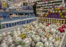 Counters with Christmas decorations in the store royalty free stock photos