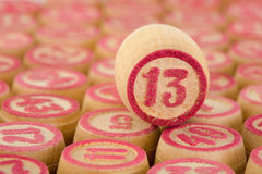 Counter of a bingo with number thirteen royalty free stock image