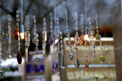 Counter with bohemian crystal, Czech Republic Stock Photos
