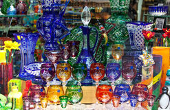 Counter with bohemian glass royalty free stock photo