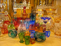 Counter with bohemian glass royalty free stock image