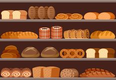 Counter with bread. Supermarket. Vector illustration royalty free illustration