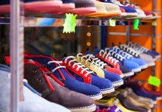 Counter with casual shoes Stock Image