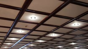 Counter ceiling with energy saving lamps stock video footage