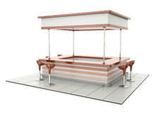 Counter with chairs. Empty retro bar counter with cafeteria chairs. Can be used as bistro counter or tradeshow tasting stand Stock Image