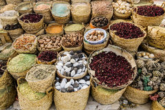 Counter with different spices and seasonings in the market royalty free stock photos