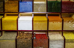Counter with different spices and seasonings in the market Royalty Free Stock Image