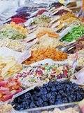 Counter of dried fruit. Counter of colorful dried fruit Stock Images