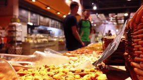 Counter with dried fruit in the store stock footage