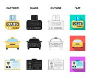 The counter of the fare in the taxi, the taxi car, the driver badge, the parking lot of the car. Taxi set collection. Icons in cartoon,black,outline,flat style stock illustration