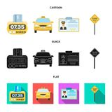 The counter of the fare in the taxi, the taxi car, the driver badge, the parking lot of the car. Taxi set collection. Icons in cartoon,black,flat style vector vector illustration