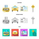 The counter of the fare in the taxi, the taxi car, the driver badge, the parking lot of the car. Taxi set collection. Icons in cartoon,flat,monochrome style vector illustration