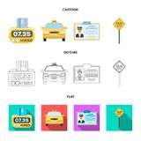 The counter of the fare in the taxi, the taxi car, the driver badge, the parking lot of the car. Taxi set collection. Icons in cartoon,outline,flat style vector stock illustration