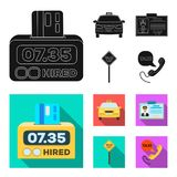 The counter of the fare in the taxi, the taxi car, the driver badge, the parking lot of the car. Taxi set collection. Icons in black, flat style vector symbol vector illustration