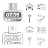 The counter of the fare in the taxi, the taxi car, the driver badge, the parking lot of the car. Taxi set collection. Icons in outline,monochrome style vector vector illustration