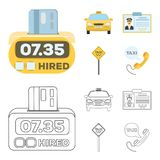 The counter of the fare in the taxi, the taxi car, the driver badge, the parking lot of the car. Taxi set collection. Icons in cartoon,outline style vector stock illustration
