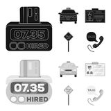 The counter of the fare in the taxi, the taxi car, the driver badge, the parking lot of the car. Taxi set collection. Icons in black,monochrom style vector stock illustration