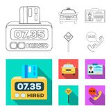 The counter of the fare in the taxi, the taxi car, the driver badge, the parking lot of the car. Taxi set collection. Icons in outline,flat style vector symbol royalty free illustration