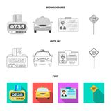 The counter of the fare in the taxi, the taxi car, the driver badge, the parking lot of the car. Taxi set collection. Icons in flat,outline,monochrome style royalty free illustration