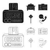 The counter of the fare in the taxi, the taxi car, the driver badge, the parking lot of the car. Taxi set collection. Icons in black,outline style vector symbol vector illustration