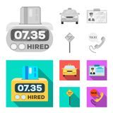 The counter of the fare in the taxi, the taxi car, the driver s badge, the parking lot of the car. Taxi set collection. Icons in monochrome,flat style vector stock illustration