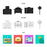 The counter of the fare in the taxi, the taxi car, the driver`s badge, the parking lot of the car. Taxi set collection. Icons in cartoon style vector symbol royalty free illustration