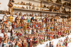 Counter with figures for creating Christmas scenes at Christmas Royalty Free Stock Images