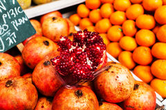 Counter with fruit at the Mahane Yehuda Market in Jerusalem. Royalty Free Stock Images