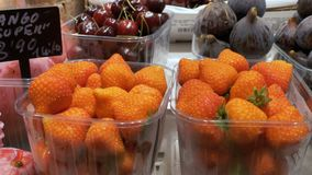 Counter with Fruits at a Market in La Boqueria. Barcelona. Spain. Strawberries in plastic containers at Mercat de Sant Josep stock footage