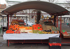 Counter with fruits on the street market in Ljubljana, Slovenia Royalty Free Stock Image