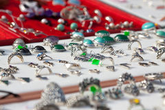 Counter with  jewelry Stock Photos
