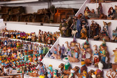 Counter of kiosk with figures for creating Christmas scenes Royalty Free Stock Photos